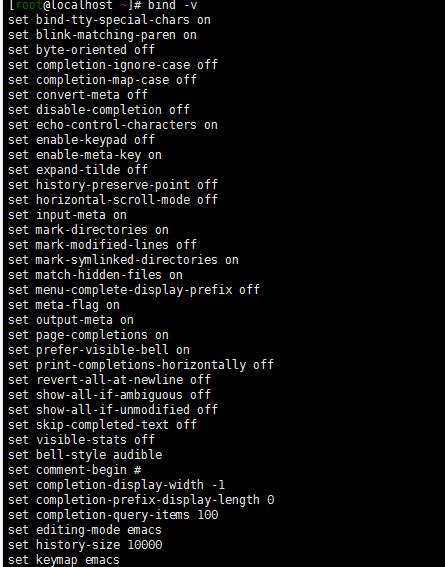 linux bind命令显示或设置键盘按键与其相关的功能